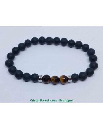 Onyx Dépoli et Oeil de Tigre - Bracelet Boules