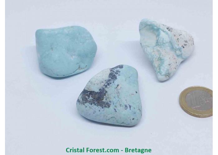 Turquoise naturelle de Chine - Pierres roulées non stabilisées - 3.8 à 6.6cm / Env 28gr