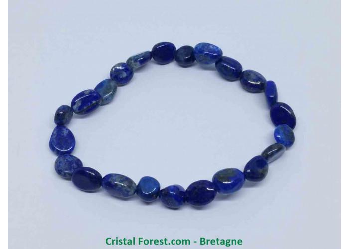 Lapis lazuli - Bracelet Grains - Longueur 17cm Extensible (Tour du poignet) Grains de 6 à 8mm