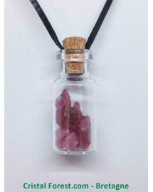 Tourmaline Rose - Pendentif Fiole en verre