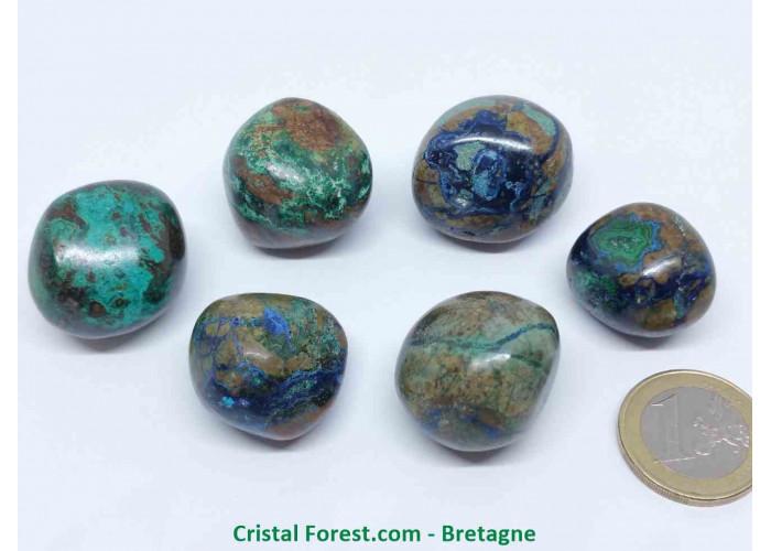 Azurite Malachite - Pierres Roulées - Qualité A : 1.8 à 2.5 cm / 7 à 19 gr Environs