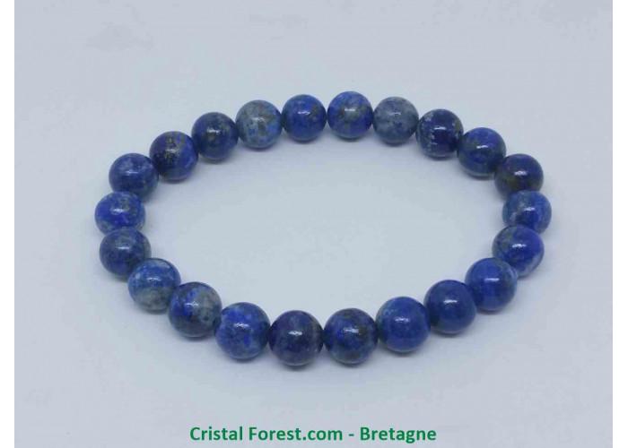 Lapis lazuli - Bracelets boules - AAA+ : Boules 8/9 mm - Longueur : 16 cm Extensible (Tour du poignet) / 22gr env