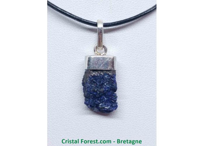 Azurite brute - Pendentif Serti Argent - 1.9 x 1.1 x 0.6cm / 3,40gr