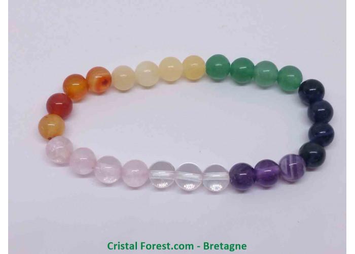 7 chakras - Bracelet Boules 6mm - Taille Enfant - Longueur 12.5cm Extensible (Tour du poignet) - Boules de 6 -7 mm