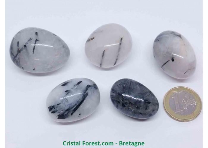 Quartz tourmaline noire - Pierre roulée - 2.8 à 4cm / Environs 25gr