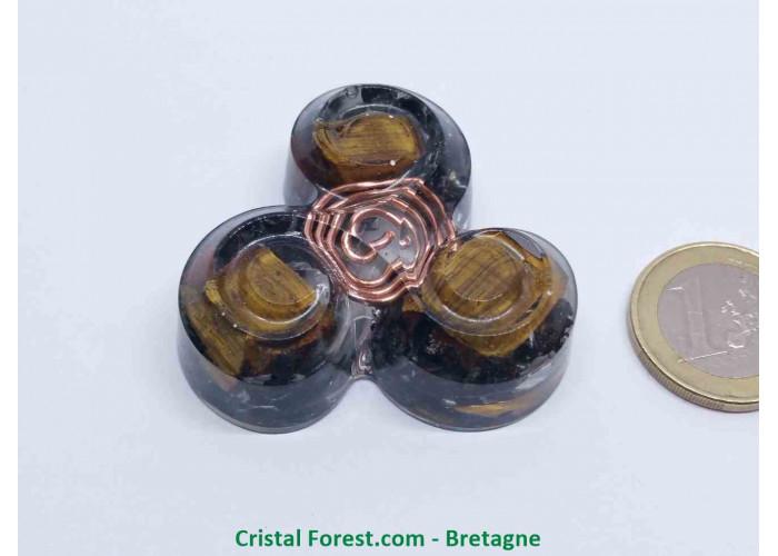Orgonite Oeil de Tigre - Triskèle de protection - 4.7 x 4.7 x ep 1.5cm / Environs 30gr