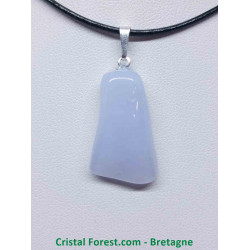 Calcédoine Bleue AA - Pendentif avec bélière