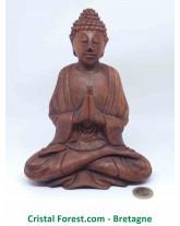Statue Bouddha Zen - Bois massif - sculpté à la main