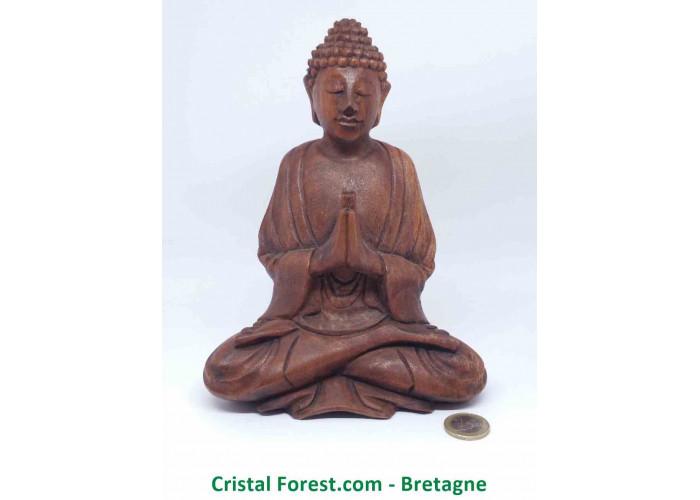 Statue Bouddha Zen - Bois massif - sculpté à la main - 22cm