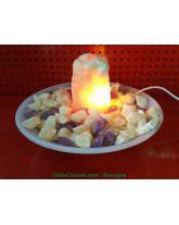 Améthyste, Calcite Orange et Quartz Rose - Fontaines Lampes