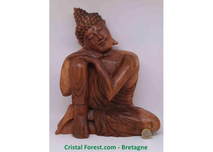 Statue Bouddha Zen - Bois massif - sculpté à la main - Environs 31 x 25 x 12cm / 1879gr