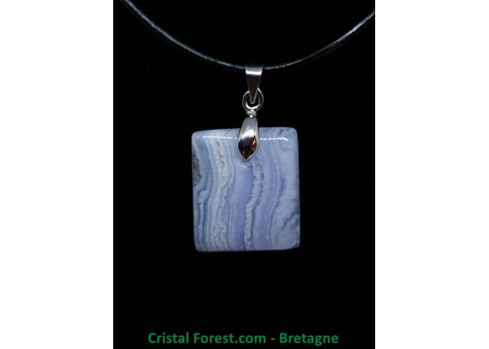 Calcédoine Bleue AA - Pendentif avec bélière - 1.9 x 1.7 x 0.4cm