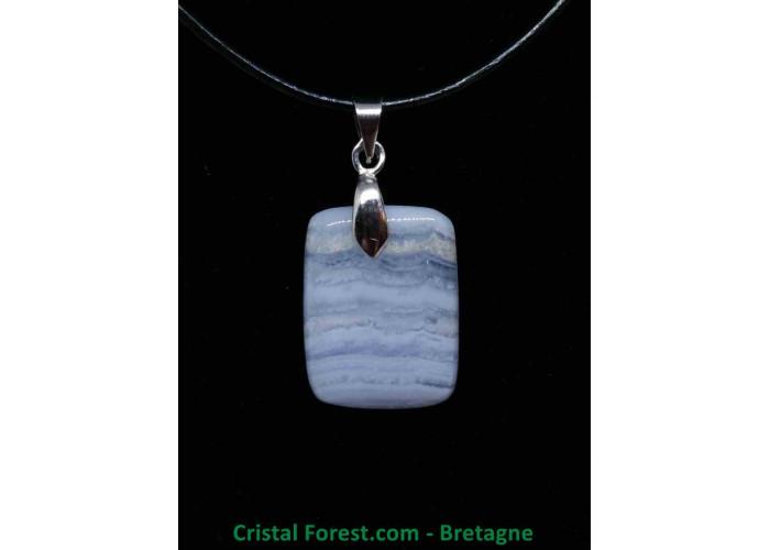 Calcédoine Bleue AA - Pendentif avec bélière - 2 x 1.5 x 0.4cm