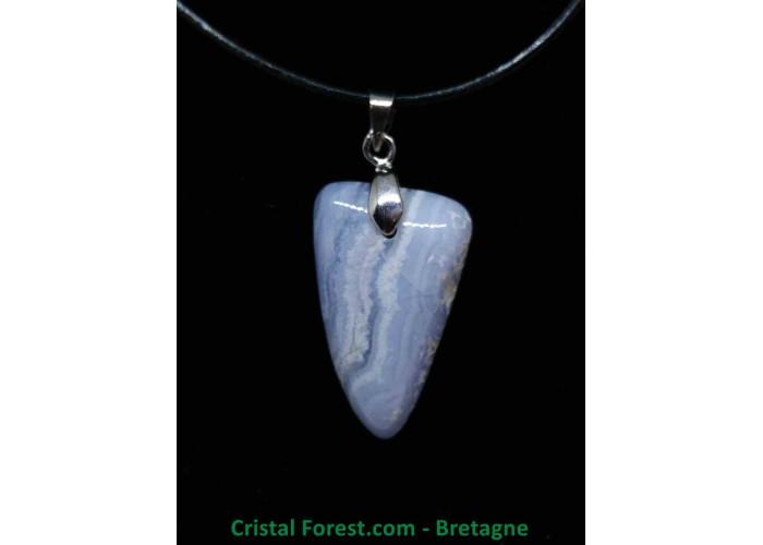 Calcédoine Bleue AA - Pendentif avec bélière - 2.5 x 1.6 x 0.6cm