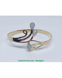 Labradorite Blanche - Bracelet en Bronze