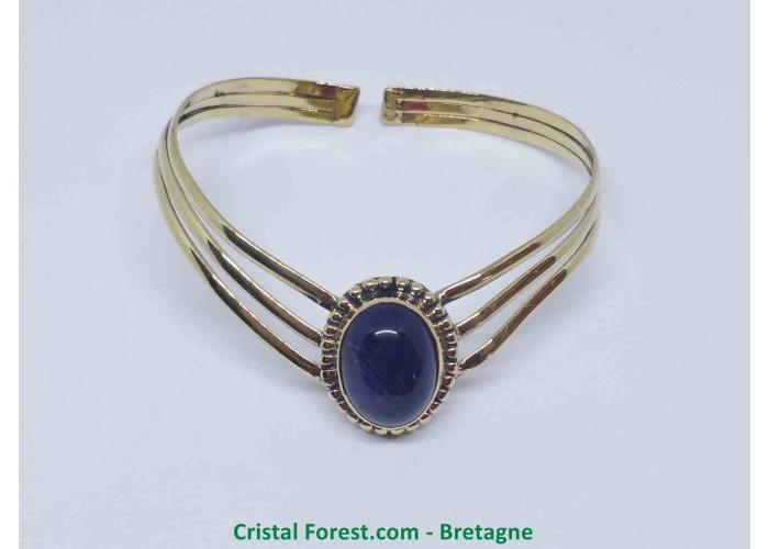 Améthyste - Bracelet en Bronze - Longueur 17.5cm modifiable - Pierre Env 1.9 x 1.4cm