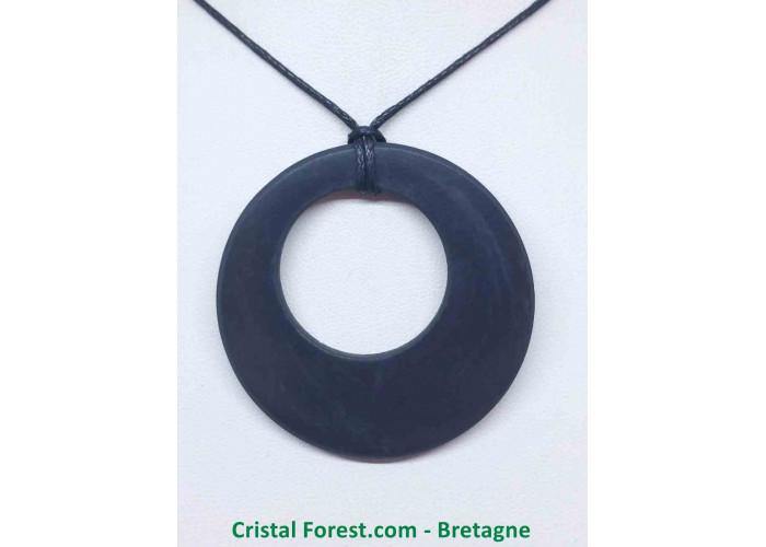 Shungite - Pendentif cercle - Diam 4.9cm