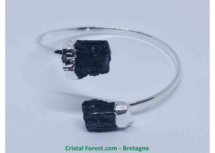 Tourmaline noire - Bracelet Plaqué Argent - Extensible de 17 à 18,5 cm