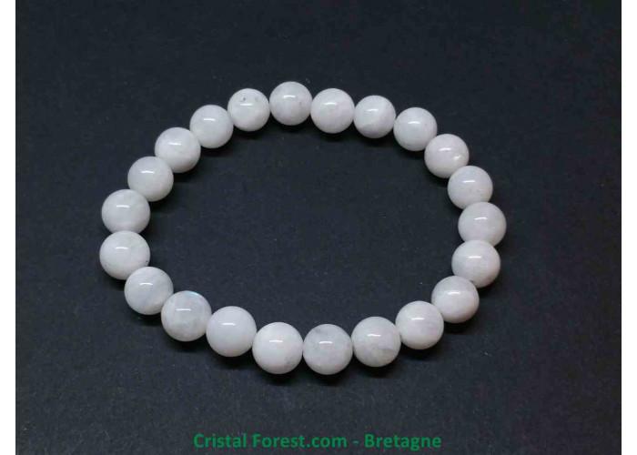 Pierre de lune blanche véritable - bracelet boules - Longueur 15.5cm (Extensible tour du poignet) -  Boules 8mm