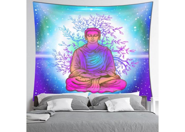 Tentures murales - 7 Chakras, Bouddha et OM (Aum) -  150 x 130cm