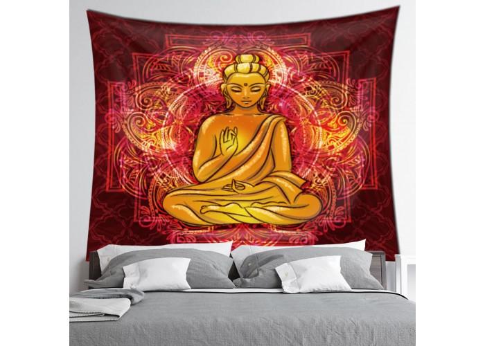 Tentures murales - 7 Chakras, Bouddha et OM (Aum) - 150 x130 cm