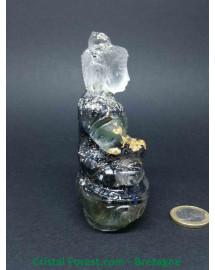 Orgonites - Bouddha - Thérapeute (Aventurine, Quartz rose, Labradorite et Cristal de roche)