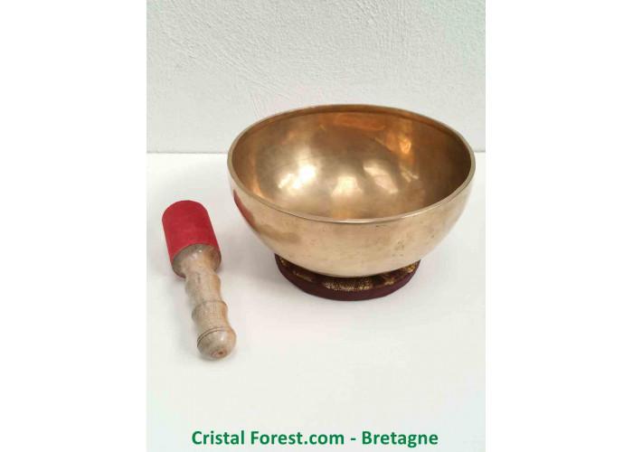 """Bol chantant Tibétain - 7 Métaux - Fait main - Note """"Ré#"""" 157 Hertz - Diam 22.7cm - H 10.2cm / 1422,00gr"""