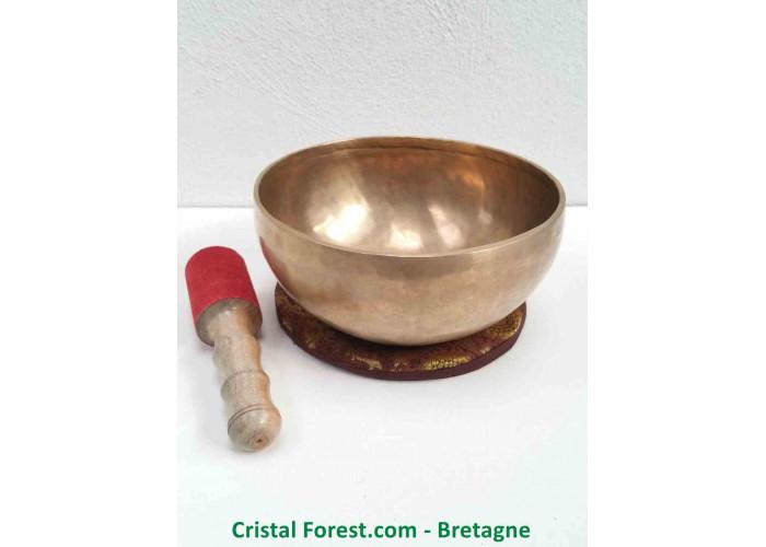 """Bol chantant Tibétain - 7 Métaux - Fait main - Note """"Mi"""" 166 Hertz - Diam 21.3cm - H 10.3cm / 1323,00gr"""