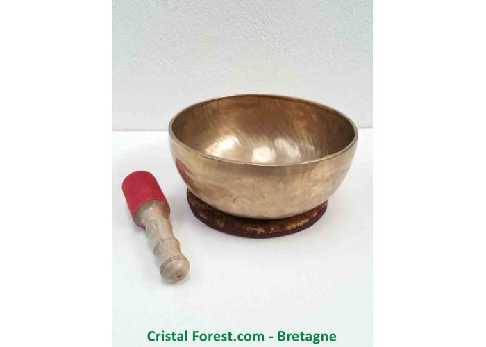 """Bol chantant Tibétain - 7 Métaux - Fait main - Note """"Ré"""" 146 Hertz - Diam 23.8cm - H 10.5cm / 1568,00gr"""