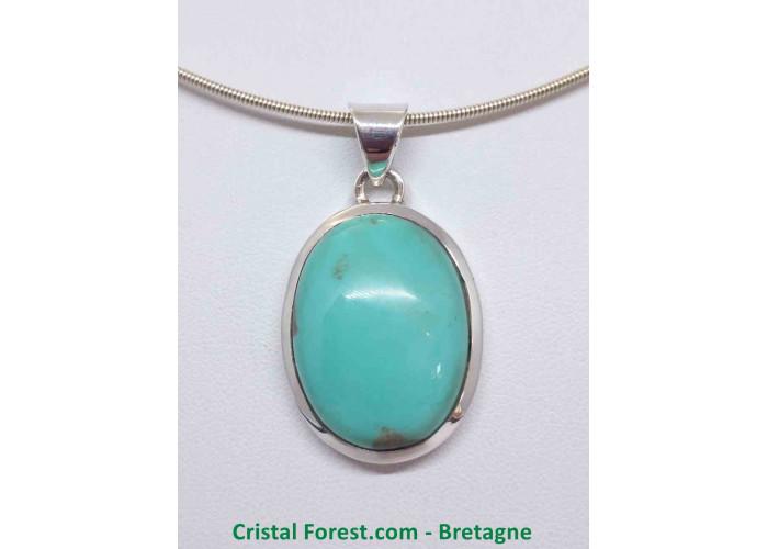Turquoise d'Arizona AAA+  - Pendentif serti Argent - Qualité Joaillerie - 3 x 2.3 x 1cm / 12,70gr