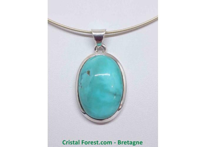 Turquoise d'Arizona AAA+  - Pendentif serti Argent - Qualité Joaillerie - 3.3 x 2.4 x 1cm / 14,40gr