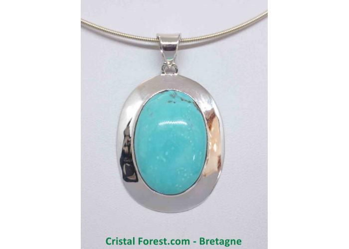 Turquoise d'Arizona AAA+  - Pendentif serti Argent - Qualité Joaillerie - 3 x 2.1 x 1.1cm / 15,60gr