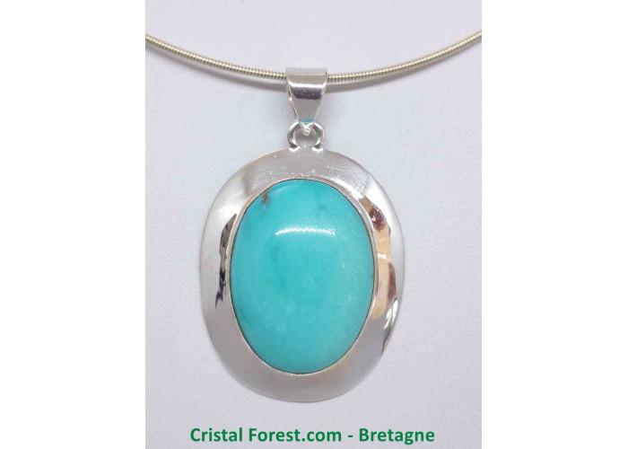 Turquoise d'Arizona AAA+  - Pendentif serti Argent - Qualité Joaillerie - 3.1 x 2.3 x 1.2cm / 17,90gr