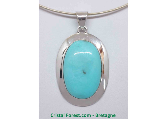 Turquoise d'Arizona AAA+  - Pendentif serti Argent - Qualité Joaillerie - 3.4 x 2.2 x 1.1cm  / 17,30gr