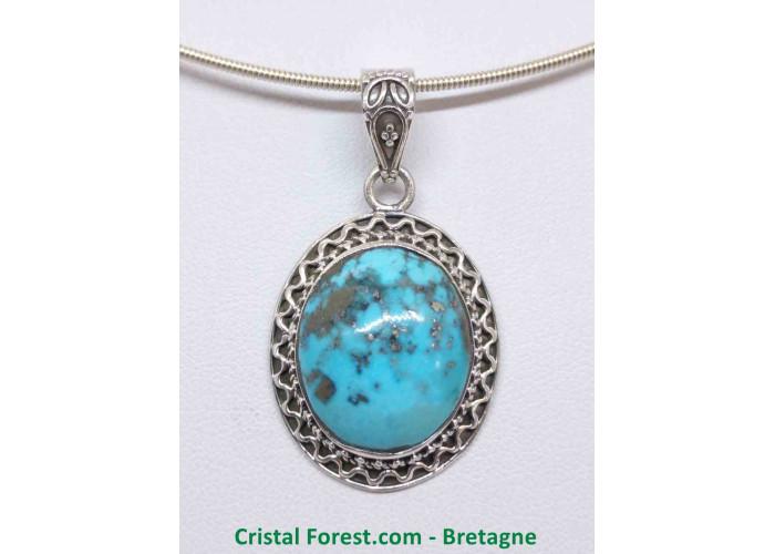 Turquoise d'Arizona AAA+  - Pendentif serti Argent - Qualité Joaillerie - 2.1 x 1.7 x 1cm / 9,60gr