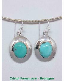 Turquoise d'Arizona AAA - Boucle d'oreilles serties Argent - Qualité Joaillerie