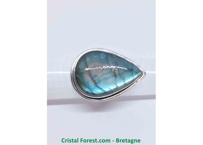 Labradorite AAA - Bague Sertissage Argent sterling - Taille 58. Pierre 2.9 x 2 x 0.8 cm / 12,40gr