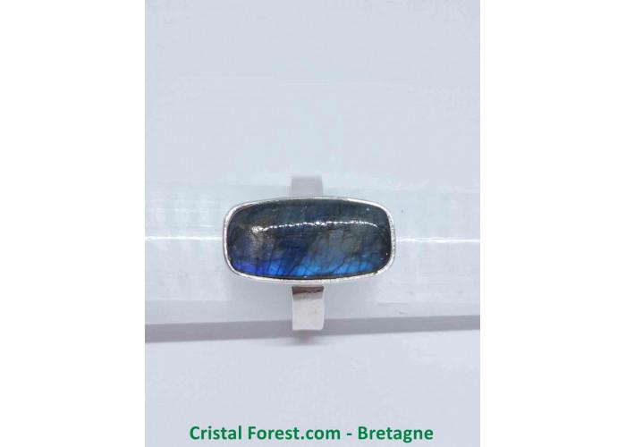 Labradorite AAA - Bague Sertissage Argent sterling - Rectangulaire - Taille 57. Pierre 2.1 x 1.1 x 0.6 cm / 6,10gr