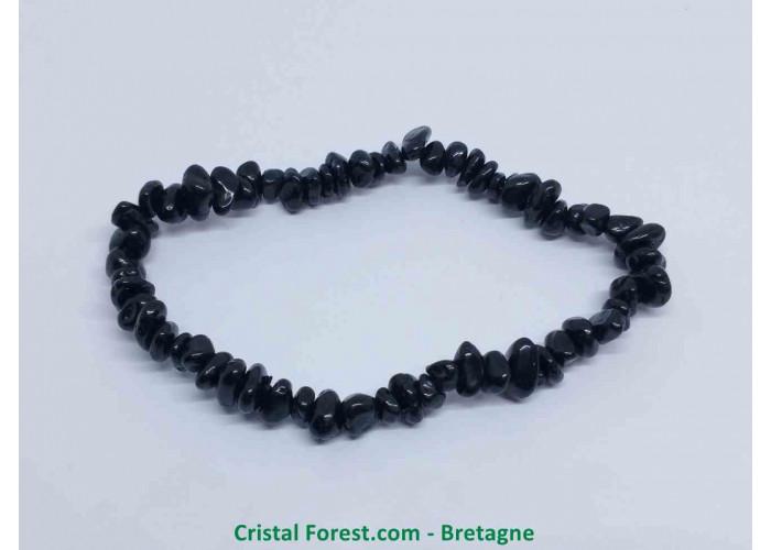 Spinelle noire - Bracelet Ships - Longueur 17cm Extensible ( Tour du poignet )