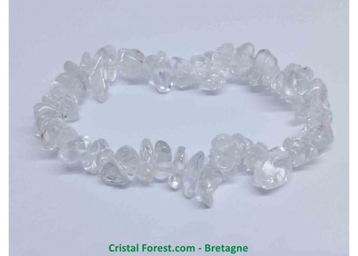 Cristal de roche AAA - Bracelets Ships - Env 15.5cm Extensible (Tour du poignet)