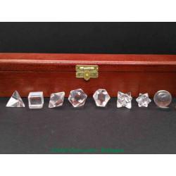 Cristal de roche - Coffret des 5 solides de Platon plus 3 formes géométriques