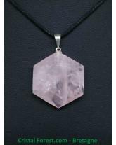 Quartz Rose - Pendentif Héxagonal
