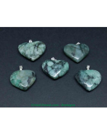 Emeraude (béryl vert) - Pendentif Coeur