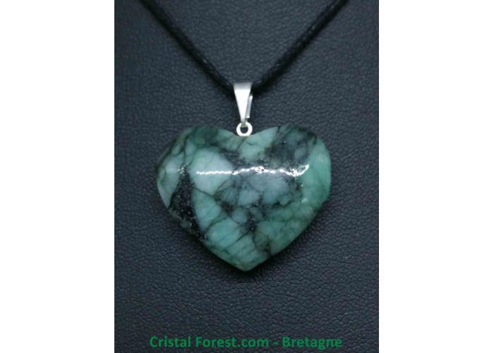 Emeraude (béryl vert) - Pendentif Coeur - 2.6 à 3 cm