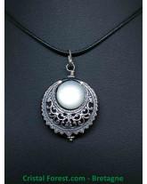 Pierre de Lune - Pendentif Croissant de Lune - Silver Filled (10% d'argent 925)