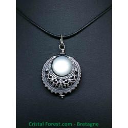 Pierre de Lune AAA+ - Pendentif Amulette Croissant de Lune - Silver Filled (10% d'argent 925)