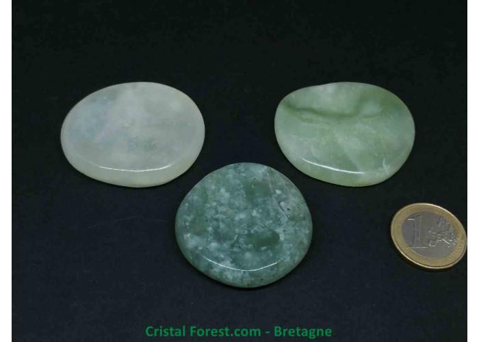 Jade de Chine / Serpentine  - Galet et pierre plate - 4 à 4.8cm / 29 à 45gr