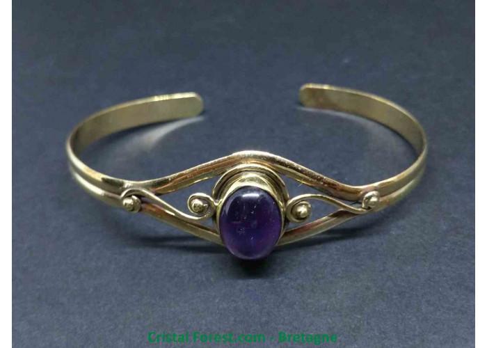 Améthyste - Bracelet en Bronze - Longueur 19cm légèrement ajustable - Pierre 1.5 x 1.1cm env