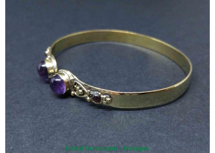 Améthyste - Bracelet en Bronze