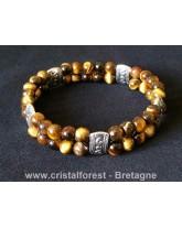Double bracelet boule 6mm Oeil de tigre